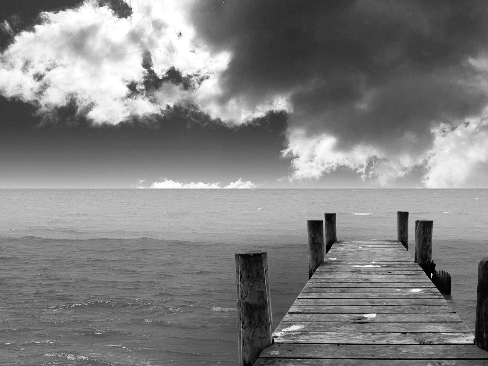 Black and white beach landscape wallpaper hd 12
